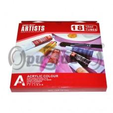 Набор акриловых красок Artists 18 цветов